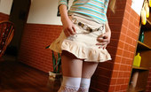 Amour Angels Yaroslava YAROSLAVA 105861 First-grade coed comes home from college and takes off her short skirt and stripy blouse