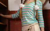 Amour Angels Yaroslava YAROSLAVA First-grade coed comes home from college and takes off her short skirt and stripy blouse