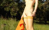Amour Angels Ashlyn ASHLYN SUNSHINE Blonde in a straw bonnet taking off her orange dress and stockings to walk around naked