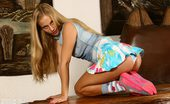 Amour Angels Luba HONEY LUBA A blonde coed shows us her panties under her mini, reveals her savory tiny breasts and poses teasingly