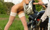 Amour Angels Kate KATE MOTO Fresh brunette girl takes off her white dress and stockings, posing on a sport bike