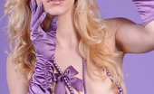 Amour Angels Linda SEXUAL DESIRE Glamorous teen blonde in purple gloves and necklace showing off her gorgeous nude body.