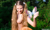 Amour Angels Amina HUNT Gorgeous long haired teen girl stripping and catching a wonderful butterfly in the meadow.