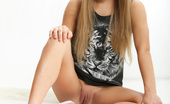 Amour Angels Britney BRITNEY Perfect long haired teen in pink sneakers undressing and showing her naughty shaved pussy.