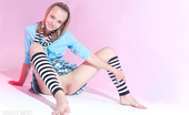 Amour Angels Dana HUNNY POT Wonderful teen beauty in striped gaiters with a teddy bear undressing and spreading legs.