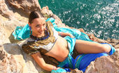 Amour Angels Lisa HINDU 107212 Indian teen goddess teasing with her absolutely perfect body while wearing a blue scarf and a summer dress.