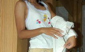 LBFM Petite country girl stripping and spreading in her family house