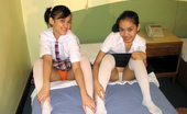 LBFM Two girls taking off their school uniform to mutually eat their pussies