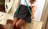 Only Tease Kelly M Kelly looks great in her college uniform with black sheer stockings