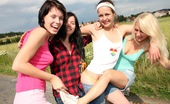 Club Seventeen Christina And Jacqueline And Sara And Tessa Outdoor camping teenagers playing with their wet cooters