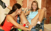 Club Seventeen Alma And Suzy Lesbian teens poking snatches with a massive green dildo