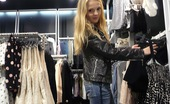 Club Seventeen Goldie Daring teenage girl gives a horny blowjob in a clothing shop