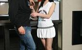 Club Seventeen Andrea Cute and very innocent brunette sucking a big stiff pecker