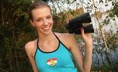 Club Seventeen Angel Hott A gorgeous daring skinny teenager pets herself outdoors