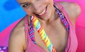 Club Seventeen Dagmar Fellow drilling her soaked bald teenage snatch outdoors