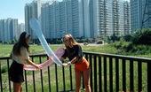 Club Seventeen Katja And Lena Two horny teenage hairy lesbians enjoy fucking in a bed