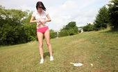 Club Seventeen Tea Key Horny teenage babe with short hair rubs herself outdoors