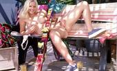 Club Seventeen Teenage blonde girl stripping till she´s naked in the garden