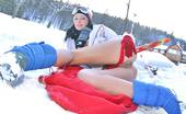 Club Seventeen Mili Jay Skiing teen strips and shows her soft pussy lips in the snow