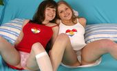 Club Seventeen Two cute teenage girlfriends showing their nice firm bodies
