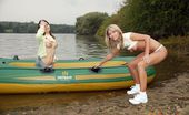 Club Seventeen Two sexy lesbian teenage hotties toying outdoor in a boat