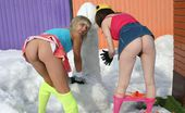 Club Seventeen Two snow loving teenage girls are naked in the cold snow