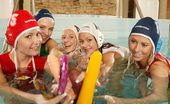 Club Seventeen Carla Cox Five lesbian waterpolo playing teen girls toying in the pool