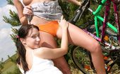 Club Seventeen Belicia And Sandy Joy Sweet lesbian teens touching eachothers pussy in the bushes