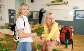 Club Seventeen Faith Two petite blonde teenie girls going dirty in the classroom