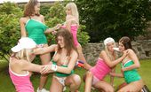 Club Seventeen Heather Wild Six lesbian teenage girls playing games in the backyard