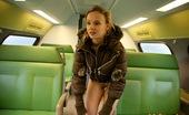 Club Seventeen Sara Blonde teenie flashing her body in the public transport