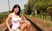 Club Seventeen Alisha Sex hungry teen masturbating with vibrator near the railroad
