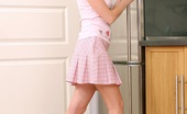 Club Seventeen Ksenija Naughty teenage brunette spreads her slit in the kitchen