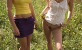 Club Seventeen Vivian And Elvira And Marcella Three cute chicks posing naked outdoors in a grassy field