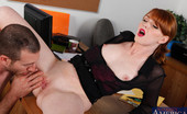 Naughty Office Marie McCray Hot redhead cougar is horny at work so she seduces worker and fucks and sucks dick in the office.