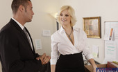 Naughty Office Siri Busty blonde worker is horny at work and decides to suck cock and get fucked at work.
