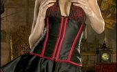 Playing by Piano Foxes.com Jamie Lynn Medieval Waist Cincher Corset in Castle
