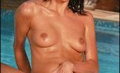 In Deep at Pool Foxes.com Aliz Leeds Yellow Bikini Large Labia Nice Clit Poolside