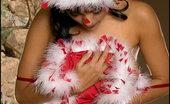 Santa Wears Stockings Foxes.com Priya Rai 122198 Indian Santa Wears Red Stockings Xmas Costume