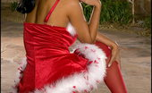 Santa Wears Stockings Foxes.com Priya Rai 122198 Indian Santa Wears Red Stockings Xmas Costume