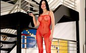 Tight in Red Foxes.com Ashley Payton Red Fishnet Bodystockings Crotchless