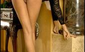 Hot Legs Hot Butt Foxes.com Macy Sky Black Lingerie Secretary Wide Spreads her Legs