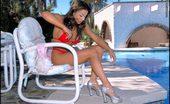 Tiny Red Bikini Foxes.com Cori Nadine Red Micro Bikini Babe Poolside