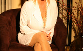 Rachel Aziani Secretary Is Back In White Secretary Outfit, Glasses And Stockings;