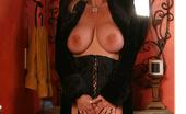 Rachel Aziani Velvet Coat & Stockings In Black Velvet Coat, Waist Cincher And Thigh High Stockings;