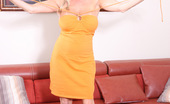 Rachel Aziani Shows Her Bush In A Tight Orange Dress Showing Off Her Hairy Little Pussy