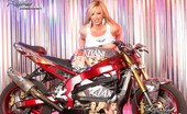 Rachel Aziani  Blonde Sweetheart, , Looks Amazing Posing With The Stunt Bike In Her Tank Top That Shows Off Her Big Boobs And Thigh-High Black Boots!