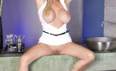 Rachel Aziani  Blonde Babe, , Loves Her Tight Little White Dress And Red Heels And Showing Off Her Incredible Big Tits And Sexy Shaved Pussy!
