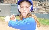 Little April Looking Cute In Her Baseball Uniform