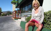 Public Flash Huge Naturals On A Blond Beauty Exposed In Public